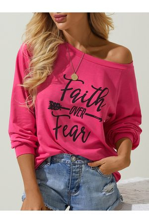 YOINS Letter Print Round Neck Long Sleeves Tee