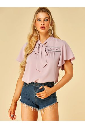 YOINS Bowknot Stand Collar Short Sleeves Blouse
