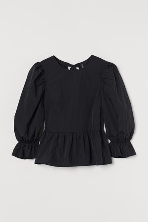 H&M Women Shirts - Puff-sleeved peplum blouse