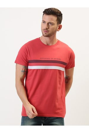 Difference of Opinion Men Red Striped Round Neck T-shirt