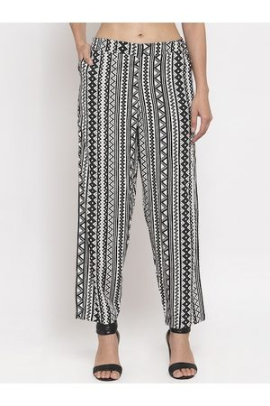 Tag 7 Women Black & White Regular Fit Striped Regular Trousers