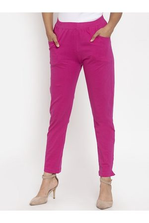 Tag 7 Women Magenta Solid Ankle-Length Leggings