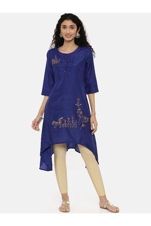 Neerus Women Blue Embroidered A-Line Kurta