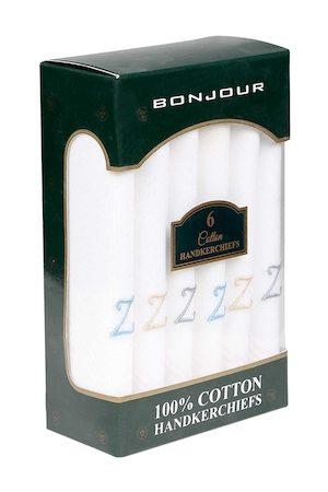 Bonjour Men Set Of 6 White Solid Handkerchiefs with Z Initials