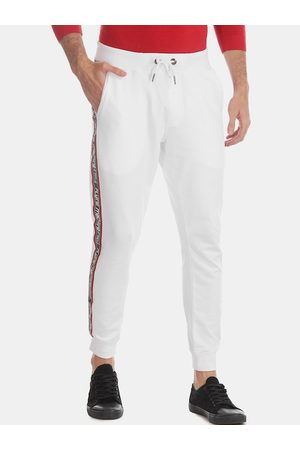 Flying Machine Men White Solid Straight-Fit Joggers