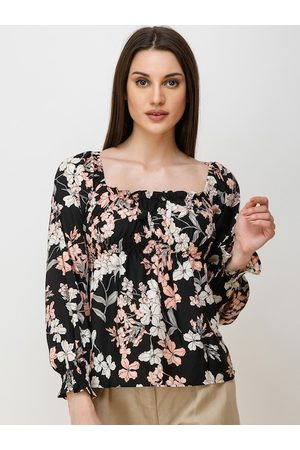 Cation Women Black Printed A-Line Top