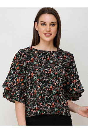 Cation Women Black Floral Printed Top