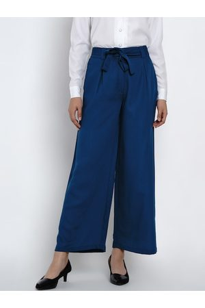 Texco Women Blue Regular Fit Solid Parallel Trousers