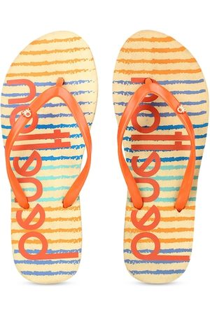 Benetton Women Orange & Yellow Printed Thong Flip-Flops