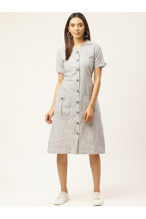 Cottinfab Women Off-White & Black Striped Shirt Dress