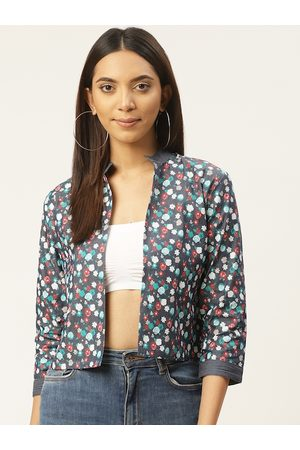 Cottinfab Women Blue & Red Floral Printed Chambray Lightweight Open Front Jacket
