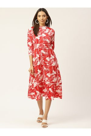 Cottinfab Women Red and White Printed A-Line Dress