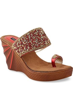Shoetopia Women Red Embellished Heels