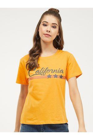 Harpa Women Mustard Yellow Printed Round Neck T-shirt