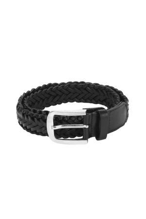 Aditi Wasan Men Black Braided Leather Belt