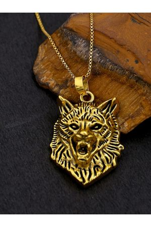 Voylla Men Oxidised Brass-Plated Wolf-Shaped Pendant With Chain