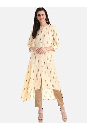 Karigari Women Cream-Coloured Printed A-Line Kurta