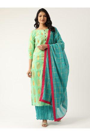 Nayo Women Green & Turquoise Blue Printed Kurta with Palazzos & Dupatta