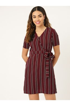 Style Quotient Women Maroon & Black Striped Wrap Dress