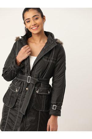 DressBerry Women Black Solid Parka Jacket