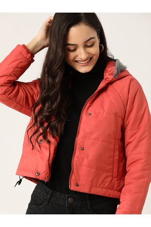 DressBerry Women Rust Red Solid Hooded Parka Jacket