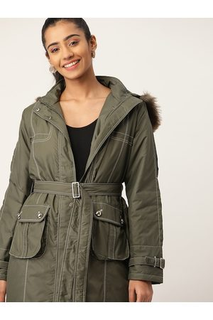 DressBerry Women Olive Green Solid Parka with Detachable Hood