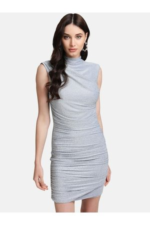Kazo Women Silver-Coloured Solid Bodycon Dress