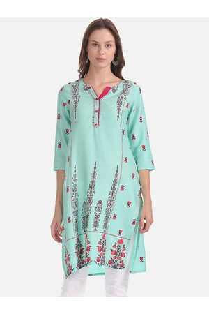 Karigari Women Sea Green & Red Printed A-Line Kurta