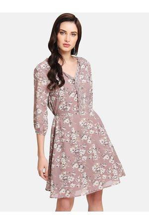 Kazo Women Mauve Printed Fit and Flare Dress