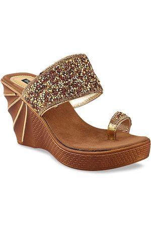 Shoetopia Women Wedges - Women Gold-Toned Embellished Wedges