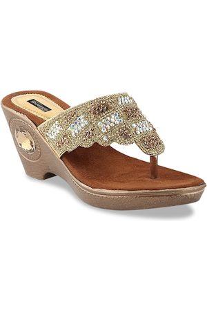Shoetopia Women Gold-Toned Embellished Wedges