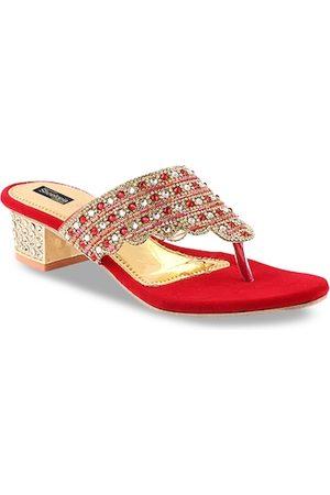 Shoetopia Women Red & Gold-Toned Embellished Heels
