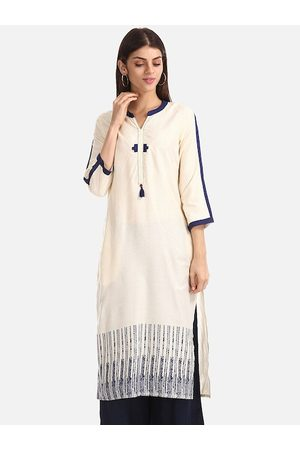 Karigari Women Cream-Coloured & Navy Blue Printed A-Line Kurta