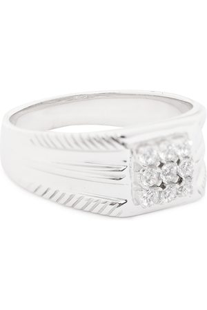 Carlton London Men Silver-Toned Rhodium-Plated CZ-Studded Finger Ring