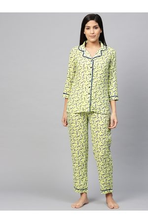 Yash Gallery Women Green & Navy Blue Floral Printed Night suit