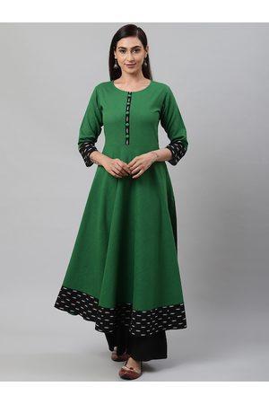 Yash Gallery Women Green & Black Solid Anarkali Kurta