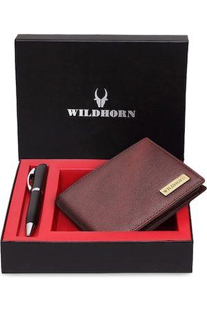 WildHorn Men Brown & Black RFID Protected Genuine Leather Wallet & Pen Accessory Gift Set