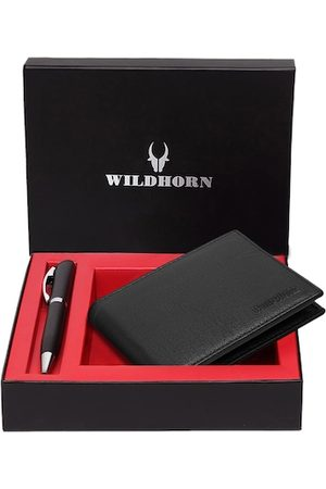 WildHorn Men Black & Silver-Toned RFID Protected Genuine Leather Accessory Gift Set