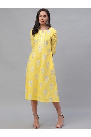 GERUA Women Yellow Printed A-Line Dress