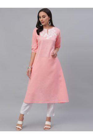 GERUA Women Pink Yoke Design Kurti with Trousers