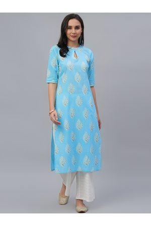 GERUA Women Blue Printed Kurti with Sharara