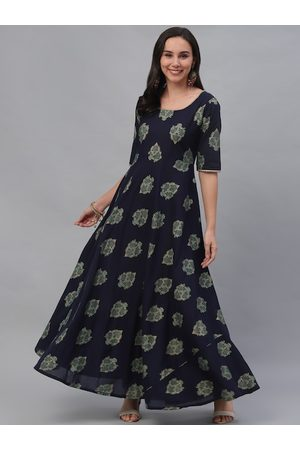 GERUA Women Navy Blue Printed Maxi Dress