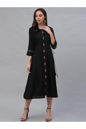 GERUA Women Black Embroidered A-Line Dress