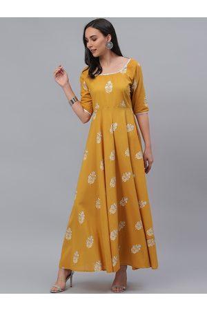 GERUA Women Yellow Floral Printed Maxi Dress