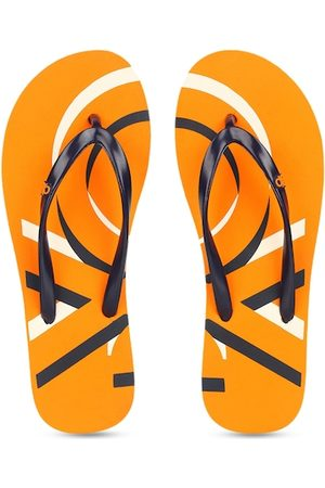 Benetton Women Orange & White Printed Thong Flip-Flops