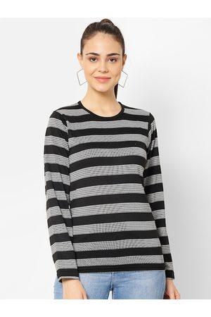 VIMAL JONNEY Women Black Striped Round Neck T-shirt