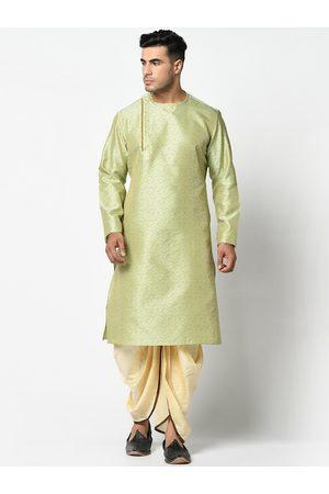 DEYANN Men Green & Cream-Coloured Woven Design Kurti with Patiala