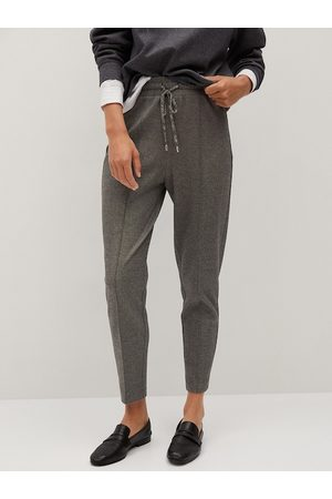 MANGO Women Charcoal Grey Comfy Fit High Rise Darted Crop Cigarette Trousers