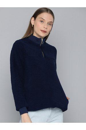 Chemistry Women Navy Blue Solid Sweatshirt