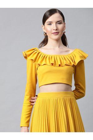 Sassafras Women Mustard Yellow Ribbed Ruffled Neck Crop Top